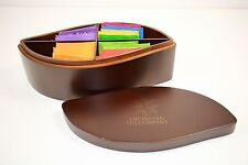 ITC Large Dark Wood Leaf Shaped Tea Chest Box 4 Compartment 32 Twinings Tea Bags