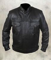 Mens Fashion Real 100% Sheep Leather Bomber/Biker Jacket 6 Front Pockets