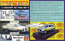 ANEXO DECAL 1/43 FORD ESCORT RS 1800 MK II ROTHMANS A.VATANEN RAC R. 1979 (01)