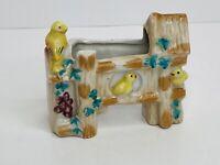 "Vintage Ceramic Planter Vase Birds Grapes House Japan 3.5""tall X 4""long X 1 3/4"""