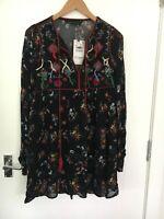 NEW ZARA SIZE XS LADIES BLACK LONG SLEEVE DRESS WITH EMBROIDERY & POM POM DETAIL