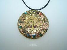 goldener Baum des Lebens Amulett Orgonit Medallion Orgon Orgonitanhänger