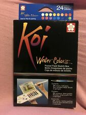 Sakura Koi WaterColors Pocket Field Sketch Box - 24 Half Pans w/ Brush BRAND NEW