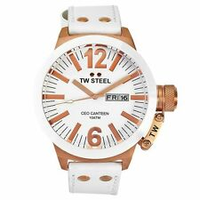 BRAND NEW TW Steel CE1035 White Leather 45mm Gold Date Watch