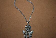 Marcasite Crystal Frog Necklace Pendant 925 India Sterling Silver Froggy Toad