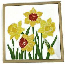 Vintage Ceramic Tile Daffodil Trivet Wooded Frame Floral Italy for Lord Taylor