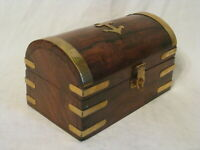 wood treasure chest wooden w/ metal detail lock lid container anchor nautical