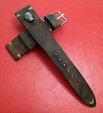 Leather Watch Strap, handmade, dark brown watch band, metal skull, 20mm lug