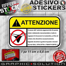 Adesivi Stickers Pegatinas MUTANDINE TANGA ATTENZIONE WARNING STRIP MOTO BIKE