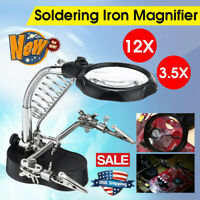 LED Helping Hand Clamp Magnifying Glass Soldering Iron Stand Magnifier Tools