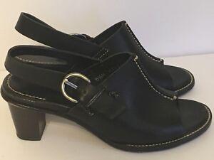 H.S. Trask & Co. Black Leather Slingback Sandal Heels Women's 5 1/2 M Sandals