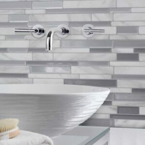 Marble Mosaic Peel and Stick Wall Tile Kitchen Bathroom Wall Decal Sticker