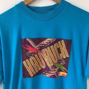 "Size Small Retro Blue Short Sleeve T-Shirt Switcher ""Hau Ruck"" Graphic Tiki Logo"