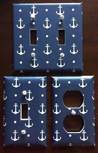 Anchors Light Switch Cover Plate Nautical Decor Navy Coastal Beach Summer