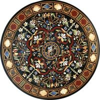 """48"""" Dining round black marble Table Top marquetry Pietra Dura Inlay Work"""