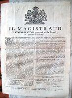1736 BANDO DA TORINO SU SANITA' E RIPRISTINO MERCATI E FIERE DOPO PESTE BOVINA