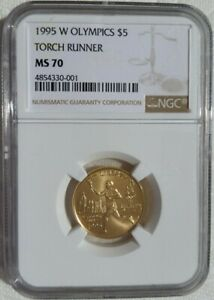 1995 W OLYMPICS $5 TORCH RUNNER COIN. NGC GRADED: MS 70. CERT: 4854330-001