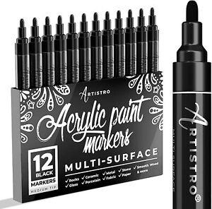 ARTISTRO 12 marqueurs noir toutes surfaces pointe moyenne *NEUF*