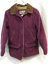 LL Bean Corduroy Barn Field Coat Jacket Womens Medium Purple Thinsulate EUC