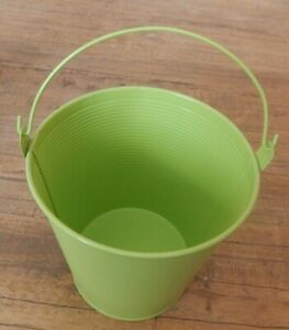 Green metal bucket Planter Kitchen storage Pail