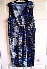 Ladies  Covington Dress Sleeveless V Neck Printed Packable  Size 1X New