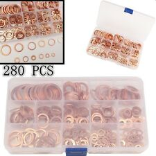 280pcs Assorted Solid Copper Crush Washers Seal Engine Seal Washer Set (12 Size)