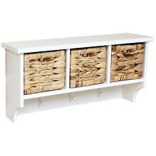 Hartleys White Hallway Wall 3 Coat Hook/Rack/Shelf & 3 Seagrass Storage Baskets
