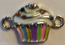 New Bling Cupcake Rubbzy Rainbow Loom Bracelet Charm Connector Colorful