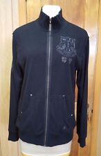 NWT GUESS Jeans Mens Black Zip Up Sweatshirt Cotton Terry Embroidered Size XL