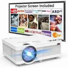 QKK Video Projector & Screen 1080P Full HD Supported, Mini Home Cinema Theater