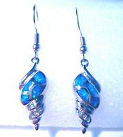 **NEW** STUNNING BLUE FIRE OPAL SHELL 925 SILVER EARRINGS   20 X 10 mm