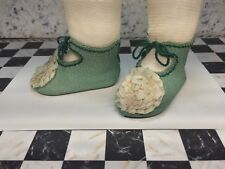 "Leather doll shoes 8 cm - 3  18 ""  French style for an antique doll mint green"