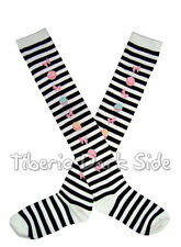 Macaroons Bows Black White Stripes Sweet Gothic Lolita Cosplay Over Knee Socks