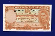 AUSTRALIA 10 SHILLINGS 1939 PIC25A X-FINE (WITH STAPLE HOLE AND GRAFFITTI) ES-3
