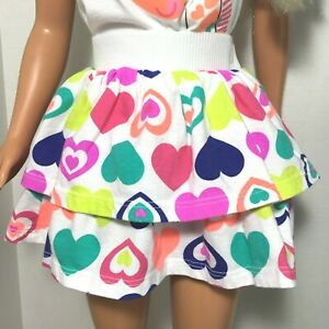 """White 2 Ruffle Skirt w Bright Multi Hearts fits MY SIZE BARBIE Doll 36"""" - 38''"""