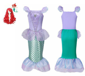 Kids Mermaid Princess Costume Fancy Dress +Wig  Child Girls Dance Cosplay