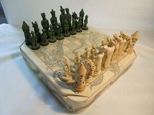 "Vintage Chinese Ceramic Chess Set Ceramic Box & Board 3"" Kings 9"" Square"