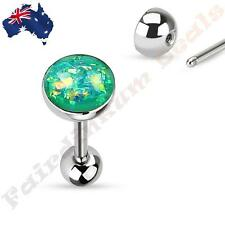 316L Surgical Steel Tongue Ring Barbell With Green Sparkle Opal