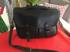 Levenger England Black Pebble Leather Satchel/ Bag Messenger Bag retail $400