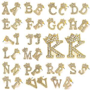 Crown Tilted Hip Hop Alphabet Initial Letter Pierced Stud Fashion Earring
