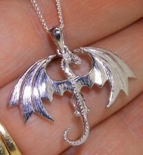 "Silver Corra Wyvern  FireDrake  Dragon Pendant 925 Sterling 18"" silver chain"