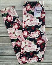 One Size Rose Printed Leggings Pink Burgundy Floral Soft OS fits 2-10
