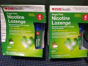 2 Box 81pc CVS Health Sugar Free Nicotine Mini Lozenge 4mg 162pcs Mint 04/2021