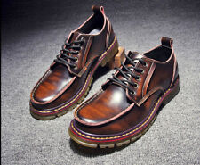 Fulinken Size 5-11 Genuine Leather Lace Up Mens Casual Dress Wingtip Deck Shoes