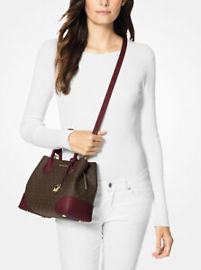 Michael Kors Mercer Gallery Brown Monogram Oxblood Leather Tote Crossbody Bag