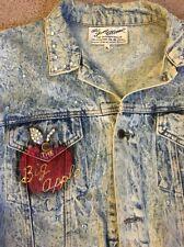 Genuine Authentic 1987 TONY ALAMO New York Jean Jacket Swarovski Crystals XL EUC