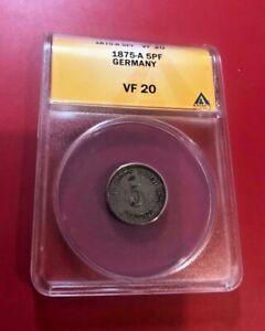 Germany Empire 5 Pfennig 1875 A ANACS VF 20
