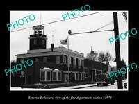 OLD LARGE HISTORIC PHOTO OF SMYRNA DELAWARE, THE FIRE DEPARTMENT STATION c1970