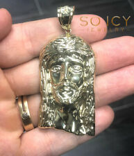 8 Grams Medium Mens Ladies 10k Yellow Real Gold Jesus Face Charm Pendant