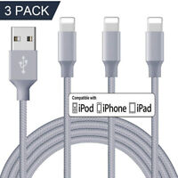 3Pack 10Ft USB Cable Heavy Duty For iPhone 8 7 6 Plus X XS Charger Charging Cord